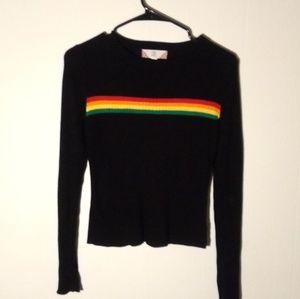 Rainbow Stripe Cropped Sweater